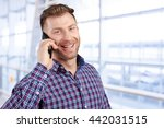 happy young man talking on cell ... | Shutterstock . vector #442031515