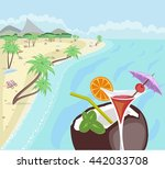 sea  beach. summer background.... | Shutterstock . vector #442033708