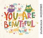 card. you are beautiful . cute ... | Shutterstock . vector #442039885