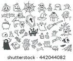 set of halloween doodle | Shutterstock . vector #442044082