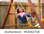 kid toddler girl swinging on a... | Shutterstock . vector #442062718