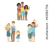 happy families posing together... | Shutterstock .eps vector #442081756