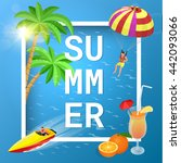 it's summer time wallpaper. | Shutterstock . vector #442093066