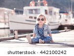 stylish kid girl wearing trendy ... | Shutterstock . vector #442100242