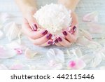 woman cupped hands with... | Shutterstock . vector #442115446