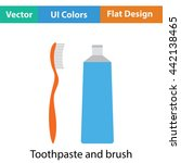 toothpaste and brush icon. flat ...
