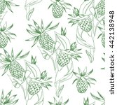 summer pattern with pineapples. ... | Shutterstock . vector #442138948