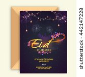 glowing invitation card with... | Shutterstock .eps vector #442147228