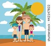 family beach vacation design  | Shutterstock .eps vector #442147822