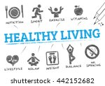 healthy living. chart with... | Shutterstock .eps vector #442152682