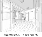 house building sketch  3d...   Shutterstock . vector #442173175