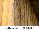 Small photo of Close-angular wall of the old wooden houses which have been weathered for a long time to be repaired.