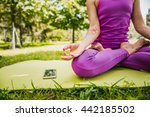 yoga in the park. woman... | Shutterstock . vector #442185502