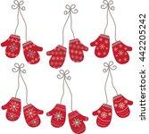 mittens gloves seamless.winter... | Shutterstock .eps vector #442205242