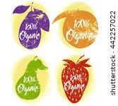 grunge fruit posters. organic...   Shutterstock .eps vector #442257022