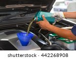 car mechanic replacing and... | Shutterstock . vector #442268908