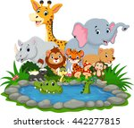 wild animal with a crocodile in ... | Shutterstock .eps vector #442277815