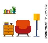 room interior with armchair....   Shutterstock .eps vector #442290412