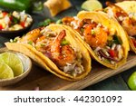 homemade spicy shrimp tacos... | Shutterstock . vector #442301092