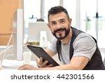 trendy bearded guy in office... | Shutterstock . vector #442301566
