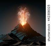 volcano illustration | Shutterstock .eps vector #442308325