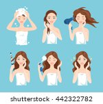 attractive young woman wash ... | Shutterstock .eps vector #442322782