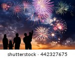happy peoples look at holiday... | Shutterstock . vector #442327675