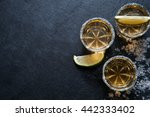 tequila shots with lime slice... | Shutterstock . vector #442333402