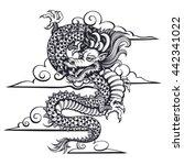 vector black and white dragon... | Shutterstock .eps vector #442341022