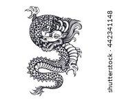 vector black and white dragon... | Shutterstock .eps vector #442341148
