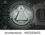 Small photo of all-seeing eye on the one dollar. New world order. elite characters. 1 dollar. Mason sign symbol
