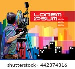 vector cameraman in action | Shutterstock .eps vector #442374316