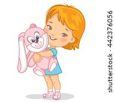 little baby girl with plush toy.... | Shutterstock .eps vector #442376056