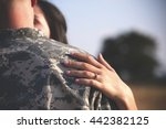 young military couple kissing... | Shutterstock . vector #442382125