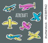 a set of air transport on the... | Shutterstock .eps vector #442385962