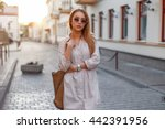 young beautiful stylish girl in ... | Shutterstock . vector #442391956