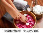 beautiful female feet at spa... | Shutterstock . vector #442392106