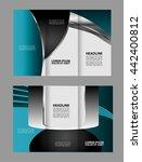 vector blue tri fold brochure... | Shutterstock .eps vector #442400812