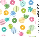 colorful pineapples and sliced... | Shutterstock .eps vector #442463035