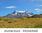torres del paine and grass field | Shutterstock . vector #442463068