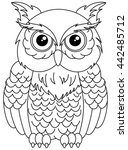 owls sitting for coloring | Shutterstock .eps vector #442485712