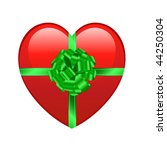 red heart with green ribbon... | Shutterstock .eps vector #44250304
