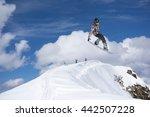 snowboard rider jumping on... | Shutterstock . vector #442507228