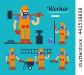 vector worker and overall work... | Shutterstock .eps vector #442518838