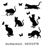 Stock vector silhouettes of cats with butterflies 44251978