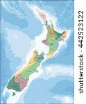 new zealand map | Shutterstock .eps vector #442523122