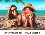 vacation. summer travel. two... | Shutterstock . vector #442530856