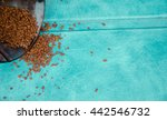 coffee beans on wooden sacking... | Shutterstock . vector #442546732