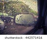 Blurred Rain Drop On The Car...