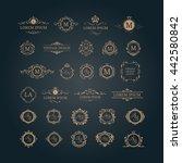 set of elegant floral monograms ...   Shutterstock . vector #442580842